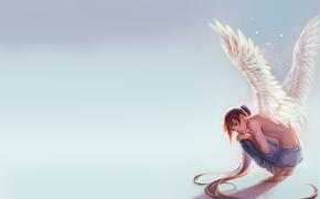 Картинка настроение, крылья, минимализм, ангел, аниме, арт, парень, tower of god, Башня Бога