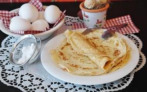 Картинка яйца, тарелки, сахар, блины, выпечка, салфетка, масленица, пудра, ситечко