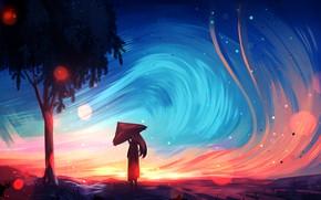 Картинка girl, long hair, trees, landscape, umbrella, art, painting, artist, digital art, artwork, wind, painting art, …