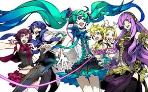 Картинка аниме, арт, Vocaloid, Вокалоид, персонажи