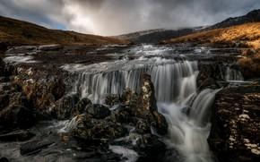 Картинка река, камни, водопад, поток, пороги, Уэльс