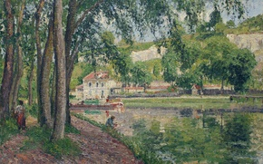 Обои Камиль Писсарро, Морет. Каналь дю Луан, деревья, пейзаж, дом, картина