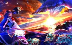 Картинка море, камни, берег, чайки, шляпа, горизонт, иероглифы, восход солнца, touhou, Tenshi Hinanawi, магический артефакт, Touhou …