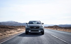 Обои Cross Country, V90, Silver, 2017, Road, Drive, Универсал, Volvo, Car