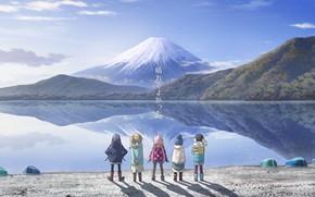 Картинка горы, дети, озеро, арт, пецзаж, yuru camp