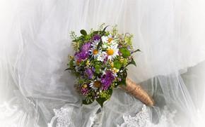 Картинка цветы, ромашки, букет, ткань, хризантемы