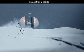 Картинка снег, след, робот, challenge, droid