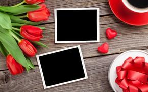 Картинка любовь, цветы, подарок, букет, сердечки, тюльпаны, red, love, wood, flowers, romantic, hearts, tulips, Valentine's Day, …