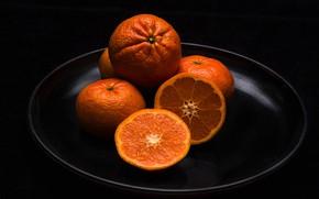 Обои блюдо, фрукты, цитрус, мандарины, дольки