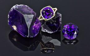 Картинка свет, отражение, блеск, перстень, драгоценные камни, оправа, аметист, огранка