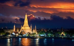 Картинка ночь, ночные огни, Город, храм, городской пейзаж, Янгон