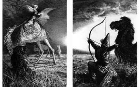 Картинка верблюд, лучник, Айбек Бегалин, Смерть Ана-Бейит (разворот), Иллюстрации к Айтматову, И дольше века длится день