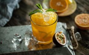 Картинка апельсин, лёд, сок, напиток, фрукты, мята, маракуйя