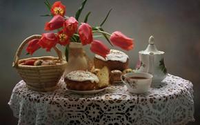 Картинка корзина, скатерть, натюрморт, яйца, тюльпаны, красные, чашка, чай, стол, чайник, ваза, тарелки, куличи, пасха, праздник, ...