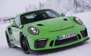 Картинка зима, 911, Porsche, суперкар, 2018, GT3 RS