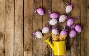 Картинка яйца, весна, Пасха, wood, spring, Easter, eggs, decoration, Happy, вафельный рожок