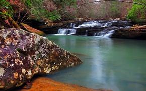 Картинка природа, река, США, каскад, Кентукки, Daniel Boone National Forest