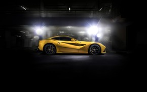 Обои black, yellow, F12, Ferrari