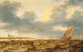 Обои дерево, масло, картина, парус, морской пейзаж, Ян Порселлис, Рыбацкие Лодки в Бурном Море