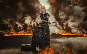 Обои огонь, apocalypse, девушка, винтовка