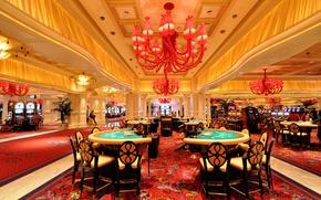 Картинка стол, Лас-Вегас, люстра, США, зал, казино