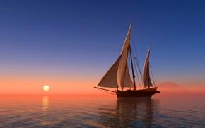 Обои море, небо, солнце, восход, побережье, корабль, парусник, горизонт, 3D Графика