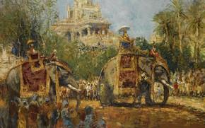 Картинка картина, жанровая, Махараджа и его Слоны, Alfred Bastien