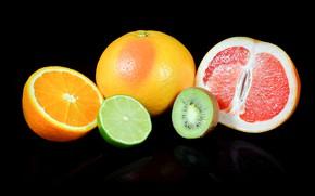 Обои апельсины, черный фон, лайм, киви, грейпфрукт