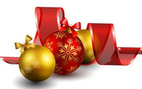 Картинка фон, шары, новый год, лента