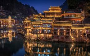 Обои Hunan Province, река, деревья, дома, ночь, огни, Китай