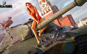 Картинка девушка, рисунок, арт, танк, ствол, Кремль, тяжелый, советский, World of Tanks, ИС-3, Красная Площадь, Nikita …