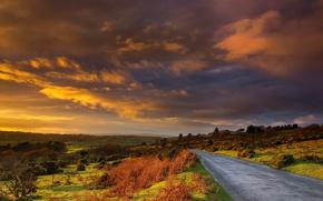 Картинка дорога, облака, холмы, Англия, зарево