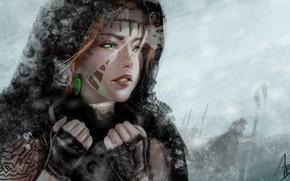 Картинка холод, зима, взгляд, девушка, украшения, лицо, арт, зеленые глаза