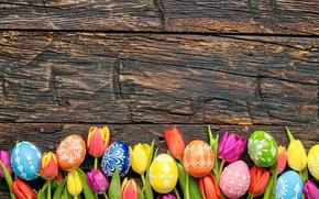 Картинка colorful, Пасха, тюльпаны, happy, wood, flowers, tulips, spring, Easter, eggs, holiday, яйца крашеные