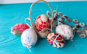 Картинка ветки, праздник, корзина, яйца, Пасха, верба, Easter, eggs, holiday, basket, willow, twigs