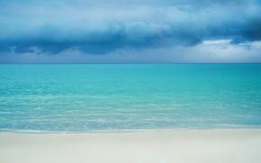 Картинка море, облака, тучи, берег, горизонт