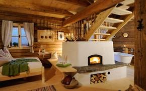 Обои дерево, кровать, дом, интерьер, печь