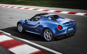 Картинка вид сзади, гоночный трек, 2018, Alfa Romeo 4C, Spider Italia
