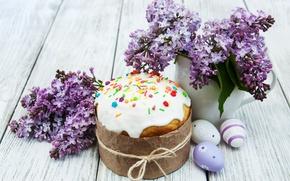 Обои decoration, сирень, Easter, Пасха, глазурь, Happy, eggs, выпечка, cake, яйца крашеные, кулич, spring, flowers, цветы