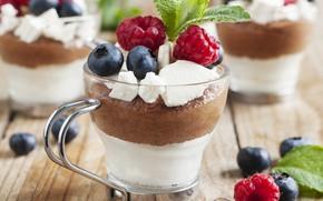 Картинка ягоды, малина, сливки, мята, десерт, голубика