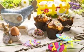 Картинка яйца, кролик, Пасха, кулич, крашенки