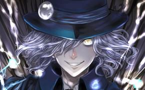 Картинка взгляд, улыбка, шляпа, аниме, арт, парень, безумие, Avenger, Fate / Grand Order, Edmond Dantès