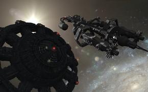 Картинка космос, корабль, звёзды, Giant-8897 in space