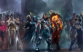 Картинка axe, girl, sword, game, monster, armor, woman, power, man, ken, blade, Magic, helmet, strong, MTG, …