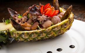 Картинка ананас, салат, морепродукты, мидии, кальмары