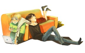 Картинка диван, арт, двое, axis powers hetalia