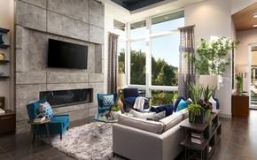 Картинка дизайн, мебель, растения, кресла, камин, гостиная