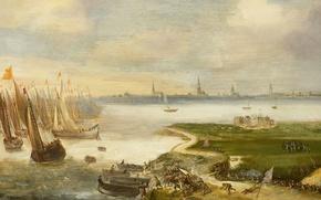 Картинка дерево, корабль, масло, картина, парус, Неудавшаяся Атака на Антверпен