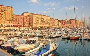 Картинка город, Франция, пристань, France, Cote D'Azur, Ницца, Nice, Mediterranean sea