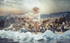 Картинка девушка, модель, волосы, макияж, прическа, блондинка, мех, фотосессия, Monika Synytycz